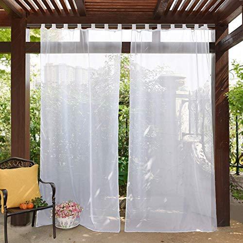PONY DANCE Outdoor Tab Top Sheer Curtains Volie Panel Vorhänge, Verkauft als 1Stück, Polyester, weiß, 54 inches x 108 inches (Weiß Und Aqua Vorhänge)