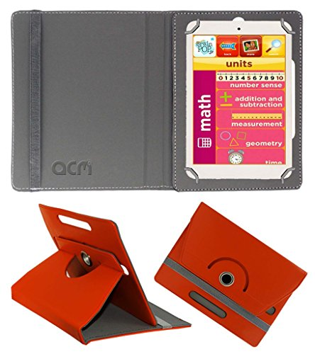Acm Rotating 360° Leather Flip Case for Eddy Kids Learning Tab Cover Stand Orange  available at amazon for Rs.149