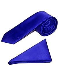"Men's Satin 2"" Slim Tie and Pocket Handkerchief Set - Royal Blue"