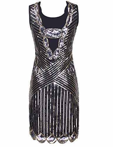 Kayamiya Damen 1920er Pailletten Perlen Zurück Tiefer V Gatsby Flapper  Abendkleid Glam Gold