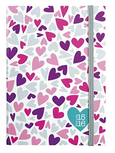 Exacompta Fashion Spirit Agenda scolaire 17 x 12 cm Motif Coeur Rose