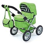 Bayer Design 1302700 Puppenwagen Trendy für Puppen bis 46 cm, höhenverstellbar, zusammenklappbar, grün