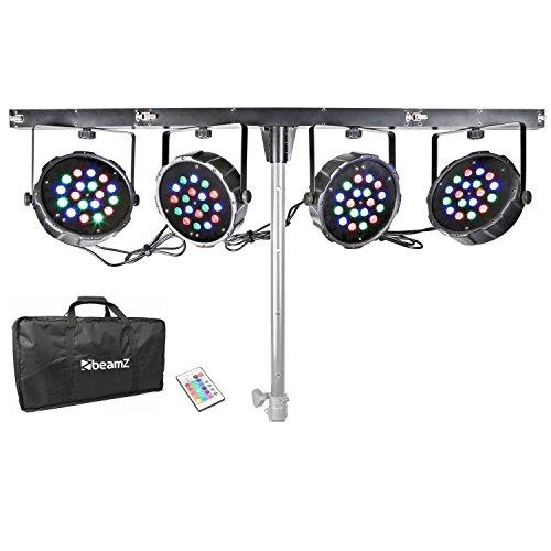 beamZ PAR-BAR DJ-Licht-Effekt-Komplett-Set T-Balken mit 4 LED-Strahler (4x 18x 1W RGB-LEDs, DMX, Automatik-Modus, Musiksteuerung, Fernbedienung, Transporttasche)