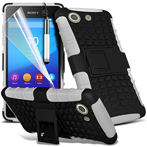 Fall für <b>      Sony Xperia M5 hülle     </b>     Case Universal Car Phone Halter Halterung Armaturenbrett und Windschutzscheibe für iPhone y i -Tronixs Shock proof + Pen (White)