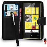 Nokia Lumia 520 Prämie Leder SCHWARZ Brieftasche Flip Fall Abdeckung Beutel MIT Mini & Big Berühren Griffel Stift ROT Staub Stopper Bildschirm Schutz & Polieren Tuch SVL3 VON SHUKAN®, (BRIEFTASCHE SCHWARZ)