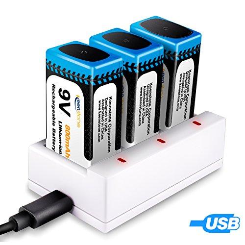 9V Batteria Ricaricabile, Keenstone 3pcs 9V Batterie Li-ion Ricaricabile 800mAh + Caricabatteria con 3 Porte di Ricarica Rapida per 9V Batteria agli Ioni di Litio (Cavo di Ricarica USB Incluso)