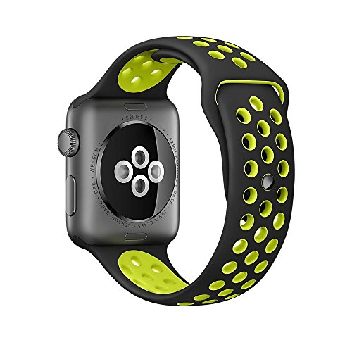 For Apple Watch Sport Watch Band Series 1 Series 2 Soft Silicone Bracelet Strap Wristband Replacement Watchband with Quick Release for Apple iWatch(Black+Yellow 42MM)
