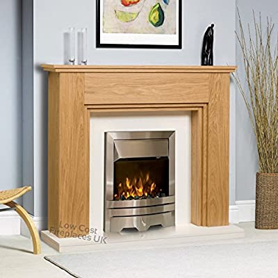 Electric Oak Wood Surround White Back Panel Hearth Modern Silver Steel 2kW LED Flame Fire Freestanding Fireplace Suite Set 48""