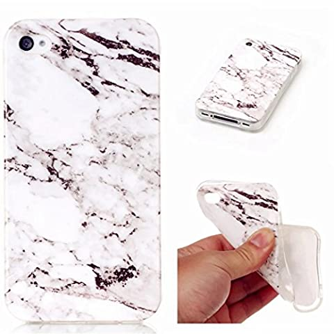 MUTOUREN Coque de Protection TPU Silicone Case Housse Etui Cas Shell pour Smartphone iPhone 4S persillage - blanc