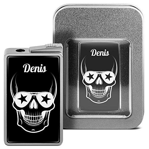 Feuerzeug mit Namen Denis - personalisiertes Gasfeuerzeug mit Design Totenkopf - inkl. Metall-Geschenk-Box 3