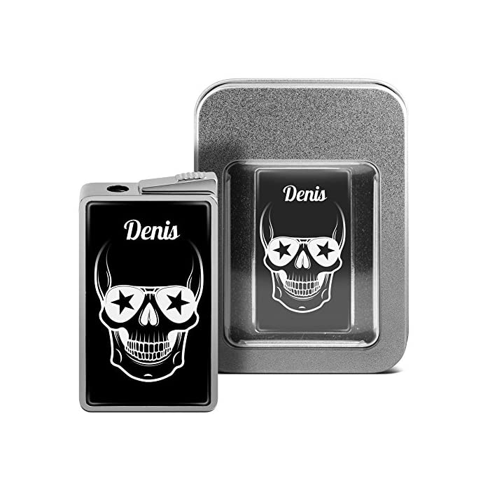 printplanet Feuerzeug mit Namen Denis - personalisiertes Gasfeuerzeug mit Design Totenkopf - inkl. Metall-Geschenk-Box