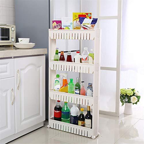 4 ripiani cucina scaffale, carrellino salvaspazio, carrellino per cucina, carrellino per il bagno, portaoggetti su rotelle