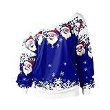 BaZhaHei Weihnachten Pullover Karneval Stil Damen Frauen Frohe Weihnachten Weihnachtsmann Print Skew Kragen Casual Daily Party Freizeit Sweatshirt Bluse Strickpullover