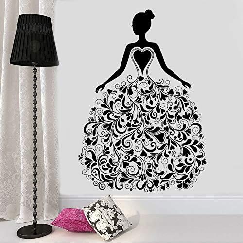 zlhcich Mode Mädchen Mit Flora Muster Kleid Vinyl Aufkleber Wandtattoo Für Wohnzimmer Kleidung Boutique Fenster Poster Wandbilder 57 * 81 cm