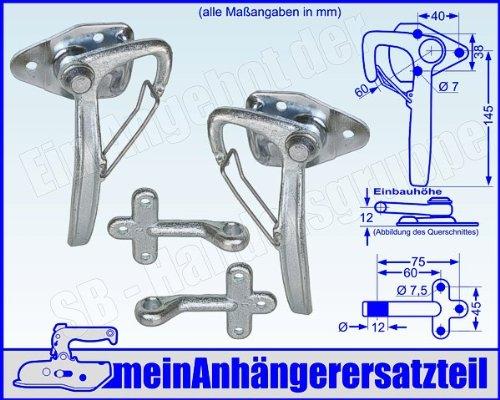 Winkelhebelverschluss Bordwandverschluss Set Gr. 0 mit Einfallöse Gegenhalter