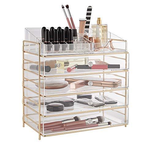 Beautify — Rangement pour Produits cosmétiques et Maquillage — Grande boîte en Acrylique avec 4 tiroirs, 12 Compartiments à Rouge à lèvres et 8 Compartiments Ouverts