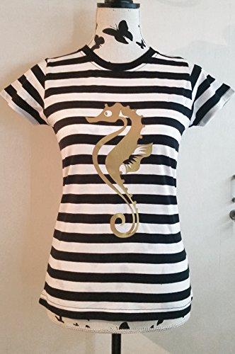 Maritime Navy Bekleidung (Maritimes Damen T-Shirt gestreift mit Seepferdchen Print)