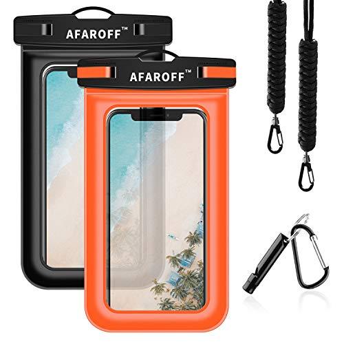 AFAROFF wasserdichte Handyhülle, 2 Stücke. IPX8 Zertifiziert, wasserdicht und staubdicht. Passt für EIN iPhone X/XR/XSMAX/8/7/6, Samsung GalaxyS9/S8/S7, Huawei und alle Anderen bis zu 6 .5Zoll.