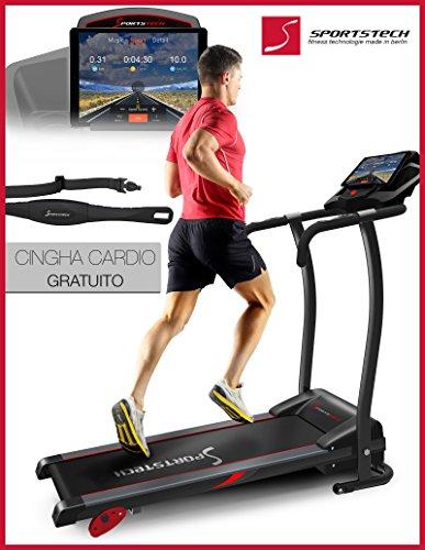 Sportstech F15 tapis roulant con App controllo Smartphone, Bluetooth, 3 HP, 12 KM/H, camminare e correre con 17 programmi e porta tablet - compatto e facile per l'archiviazione