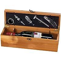 Carlo Milano Wein Geschenkbox: 5-teiliges Sommelier-Set in edler Geschenkbox für 1 Weinflasche (Weinkiste)