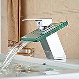 5151BUYWORLD top quality rubinetto per vasca in vetro cascata lavandino rubinetto monocomando per sanitari rubinetti cromati Finishfor Gaden bagno da cucina, cromato,