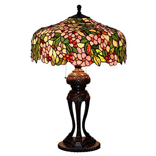 Bieye L30540 31 pollici Fiori di ciliegio Lampada da tavolo in vetro colorato Tiffany Style