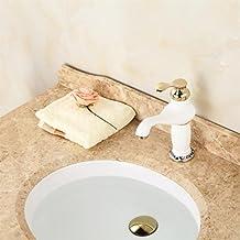 CNBBGJ Continental blanco pintar grifo solo agujero lavabo grifo caliente y fría porcelana azul y blanca grifo del lavabo de colada