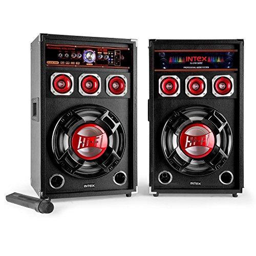 Intex DJ-215K SUF BT Bluetooth Standlautsprecher Paar für Karaoke (USB/SD, MIC, MP3, 10/25cm, Bassreflex, LED-Effektbeleuchtung, inkl. Fernbedienung und Mikrofon) (Karaoke-speicherkarte)
