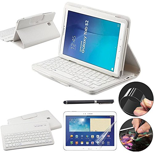 REAL-EAGLE Samsung Galaxy Tab S2 Clavier Bluetooth, Clavier Tablette sans Fil Bluetooth Wireless Keyboard Cuir Smart Case Clavier Également pour Samsung Galaxy Tab S2 9.7 pouce SM-T810 T813 T815 T819 tablette. (White)