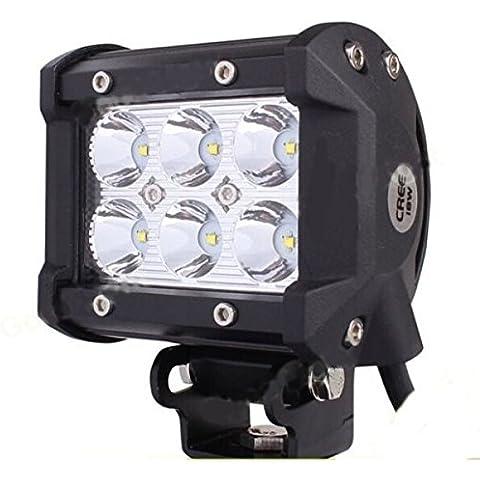 Eximtrade 18W CREE 6 LED 1260LM Luz Concentrada Luz Delantera Luz de Niebla Vehículos Todo Terreno SUV Barco Jeep 4X4