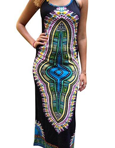 OOfit Damen hippie Kleid Ärmelloses Maxikleid boho Strandkleid Sommerkleid  lange, GrMXXLEU3442 3