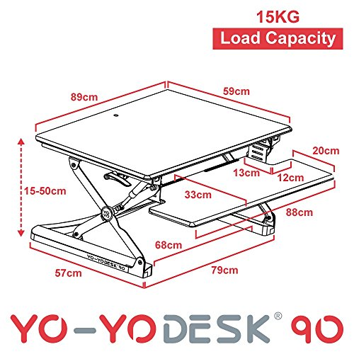 Yo-Yo Desk 90(BLACK) – Best Selling Height Adjustable Standing Desk [90cm Wide]. Superior sit-stand solution suitable for all workstations and standing desk workplaces.