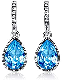 GoSparking aguamarina elementos de cristal azul del oro blanco 18K plateó la aleación Pendientes de cristal austriaco para las mujeres