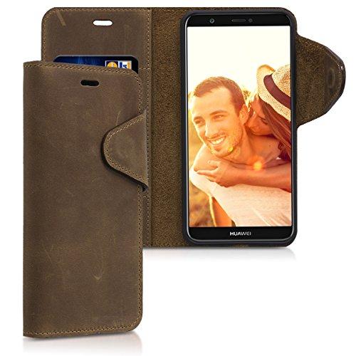 kalibri-Hlle-fr-Huawei-Enjoy-7SP-Smart-Echtleder-Wallet-Case-Schutzhlle-mit-Fach-und-Stnder-in-Braun