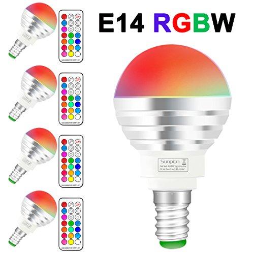(4 pack)rgbw lampada bulbo a led con ir telecomando,sunpion® 3w 16 cambia colore led lampadina bulbo,celebration per natale,per decorazione (rgbw 3w e14 4pcs new)