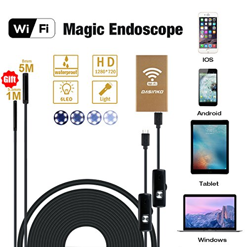 DaSinKo Wireless Wifi Endoscope Inspection Camera Waterproof Inspection Camera With 5M Rigid Cable 6 Leds 2.0 Megapixel 720P HD Boreskope Snake for Android and IOS Smartphone, iPhone, Samsung, Tablet(gift 1M flexible Cable)
