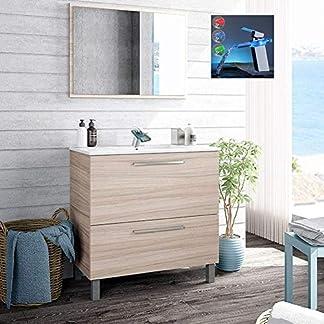Hogar Decora Pack Baño City. Mueble de Lavabo Cerámico + Espejo + Grifo Cascada LED RGB Cambio Color