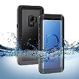 S9 Wasserdichte Hülle, Lanhiem [IP68 Zertifiziert Wasserdicht] Handy Hülle mit Eingebautem Displayschutz,Stoßfest Staubdicht und Schneefest Unterwasser Ourdoor Schutzhülle für Samsung Galaxy S9 Schwarz