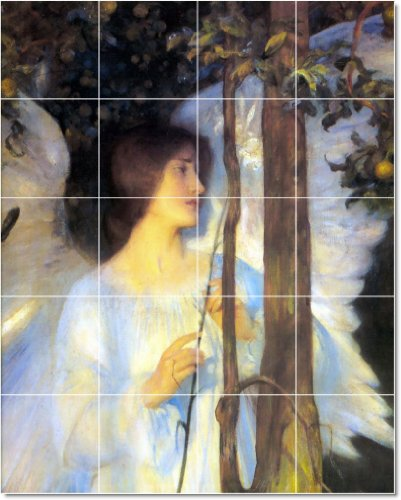 ARTURO HACKER ANGELES TILE MURAL MODERNO PISO DISEñO  32X 40CM CON (20) 8X 8AZULEJOS DE CERAMICA
