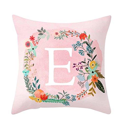 dragonaur Rosa Buchstaben Muster Kissenbezug Überwurf Sofa Bett Auto Home Decor, Polyester, einfarbig, E (Buchstaben Komfortable)