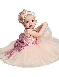 hibote Niñas Bowknot Lace Princesa Falda Summer Sequins Vestidos para Bebés Niños Niños de 0-5 años de edad