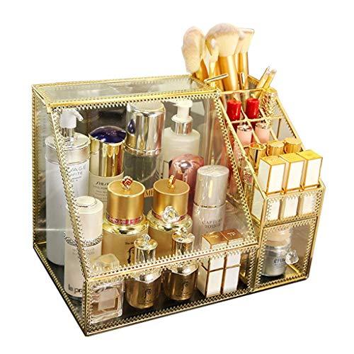 CHUTD Make-up Vitrine 3 Fächer mit 1 Schublade Klar Schmuck Aufbewahrungsbox 5mm Glas Kosmetik Veranstalter Lippenstifte Make-up Veranstalter Halter Box -