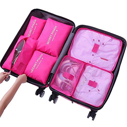 Yiran 7Stück Reise Kleidertaschen Kofferorganizer Verpackungswürfel organizer Wäschesack Gepäck Kompressionstaschen Taschenorganizer...