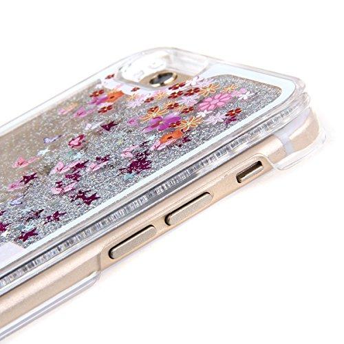 Voguecase® Per Apple iPhone 5C, Sabbie mobili stella Hard Skin Protettivo Skin Custodia Protettiva Shell Case Cover (argento-fiori di ciliegio gatto bianco) Con free Stilo Penna argento-ragazza in auto