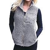 Decha Damen Weste Outdoor Fleece mit Reißverschluss Stehkragen Winter Warm Ultraleicht Top Gilet Vest Jacke Ärmellos Plüsch Retro