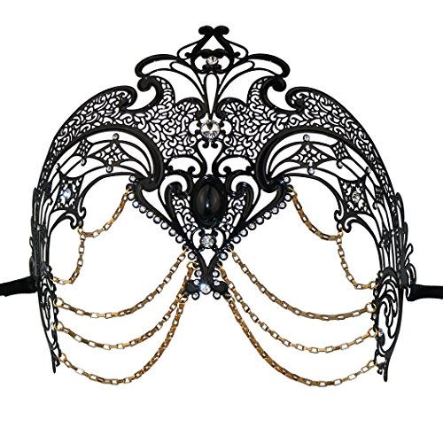 Metall Masquerade Maske Halloween-Kostüm Mardi Gras Maske Ball Ball Kleid für Halloween Mardi Gras Party, metall, schwarz, L (Womens Butterfly Halloween Kostüme)