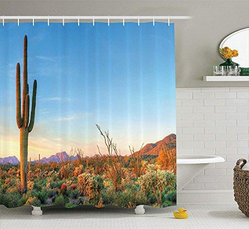 JIEKEIO Saguaro Cactus Decor Shower Curtain Set, Sun Goes Down in Desert Prickly-Pear Cactus Southwest Texas National Park, Bathroom Accessories,60 * 72inch Inches, Orange Blue Green -