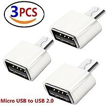 Lucklystar® Cavo Adattatore OTG, da micro USB a USB 2.0,da maschio a femmina, presa per Android Smartphone/Tablet con funzione OTG 3 PCS