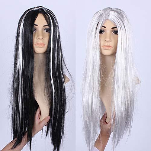 Halloween Maskerade Kostüm Requisiten Ganze Schwarz Und Silber Haar Perücke Fancy Kleid Party Perücken Halloween Dekoration