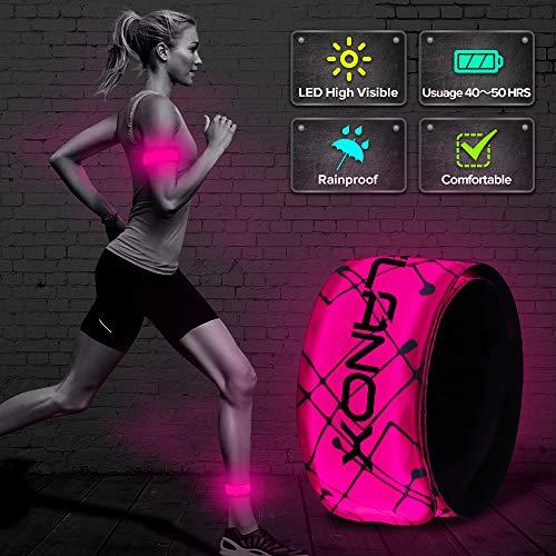 ELANOX LED Armband Leuchtband für Sport Outdoor Reflektorband Sicherheitslicht Slap Band für Fahrradfahren Joggen Kinderwagen (1 St. pink)